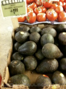 Avocado display in the produce section - organic avocados