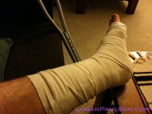 Levaquin contributed to ruptured achilles tendon - leg in splint here with crutches